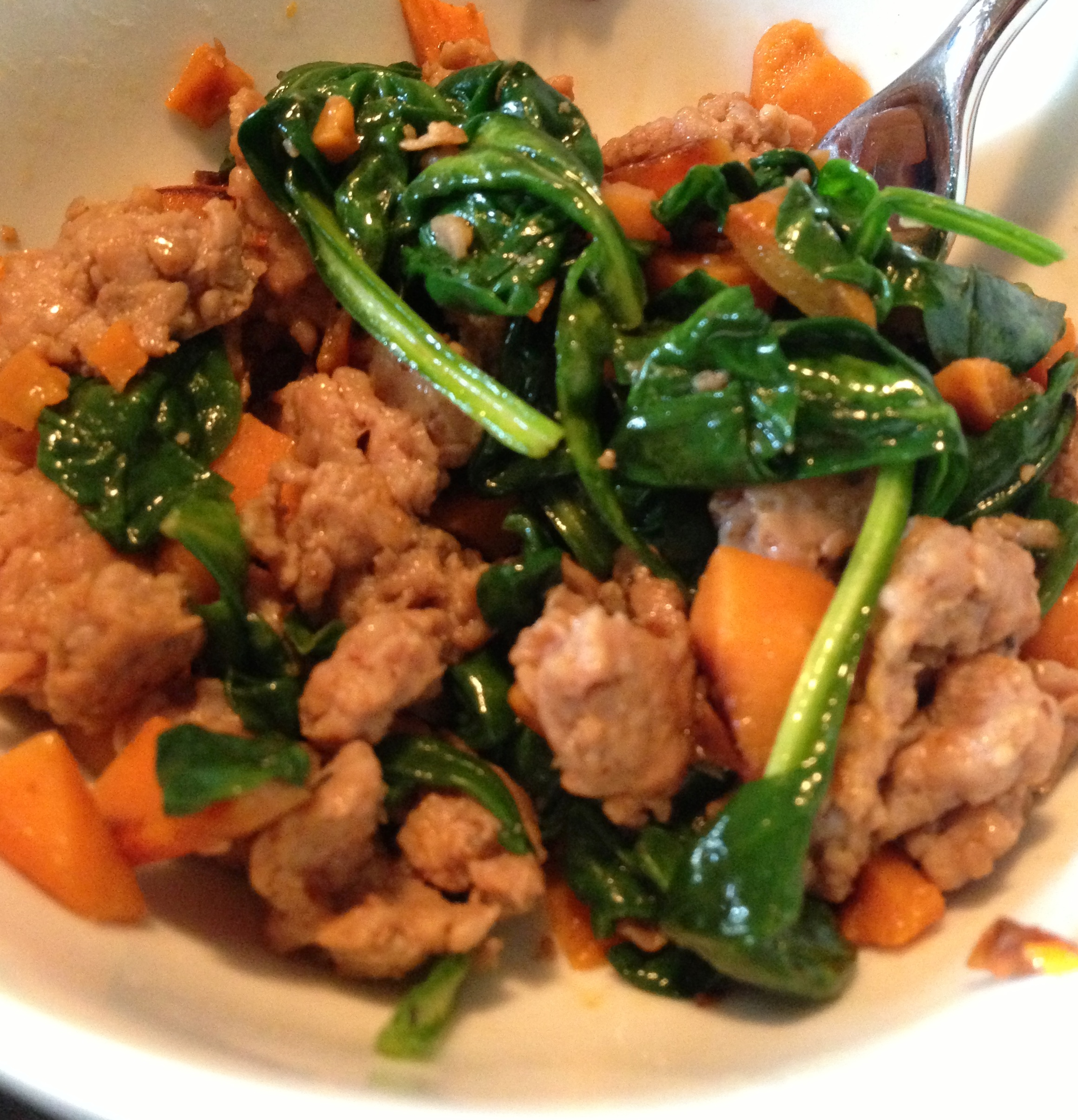 sweet potato sausage spinach hash